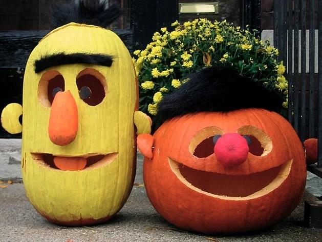 Ernie & Bert Pumpkins...these are the BEST Halloween Decorated & Carved Pumpkin Ideas!