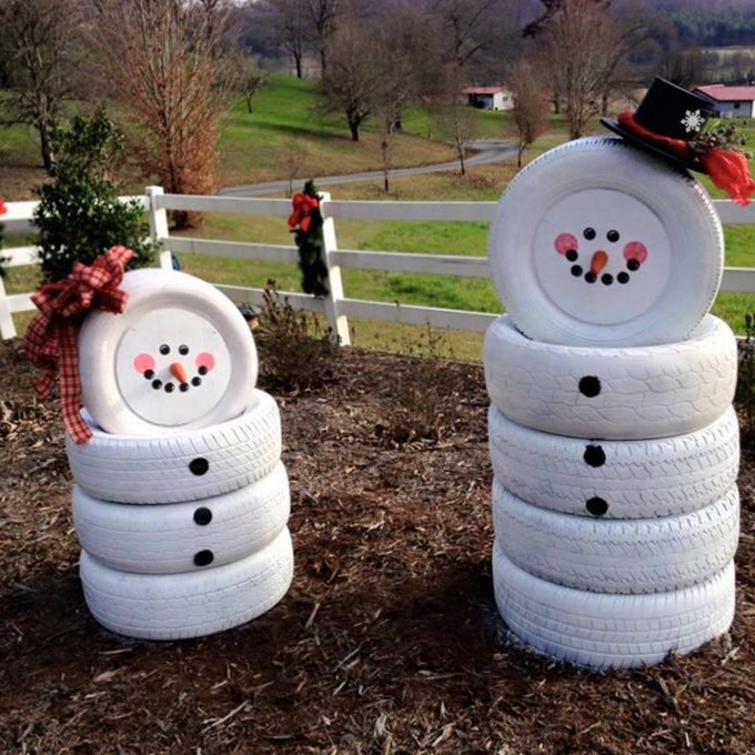 60  of the BEST DIY Christmas Decorations   Kitchen Fun With My 3 Sons Snowmen made from Old Tires    these are the BEST DIY Christmas Decorations