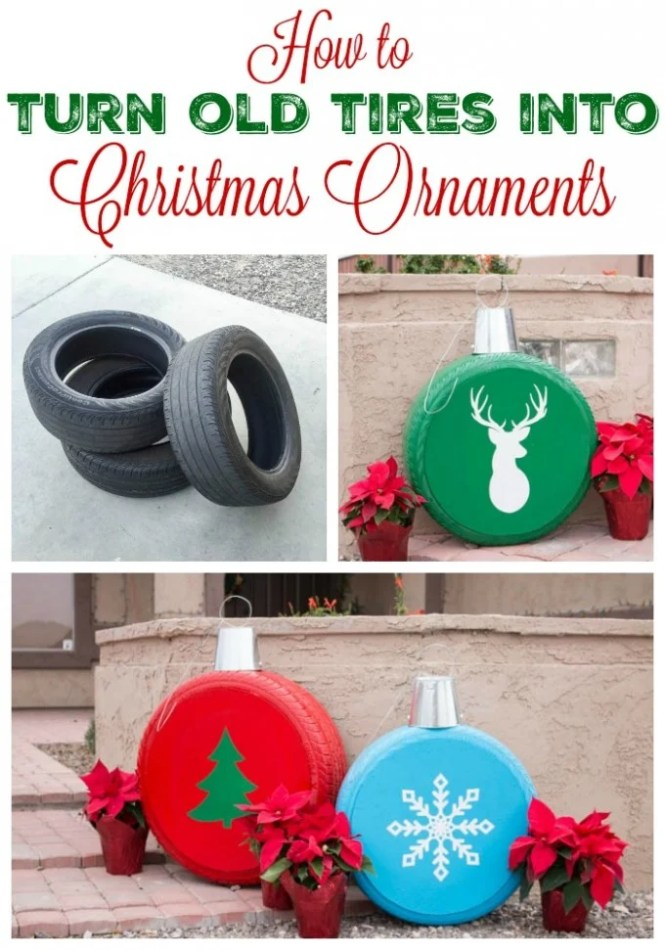 Snowmen Made From Old Tires These Are The Best Diy Christmas Decorations
