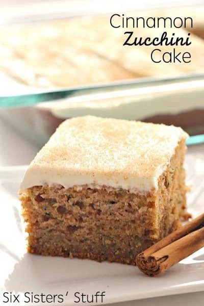 Cinnamon Zucchini Cake with Cream Cheese Frosting...these are the BEST Fall Dessert Recipe Ideas!
