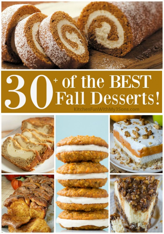 Over 30 of the BEST Fall Dessert Recipes! Including Cake, Cookies, Pie, Bars, Bread, & more!
