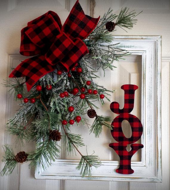 Christmas Joy Wreath using a Frame...love this!