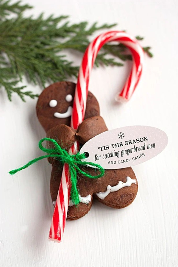 Chocolate Gingerbread Men holding Candy Canes...these are the BEST Christmas Cookie Recipes!