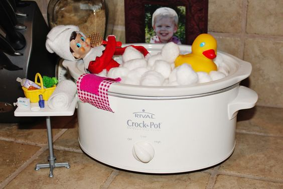 Elf on the Shelf in a Crockpot Bath