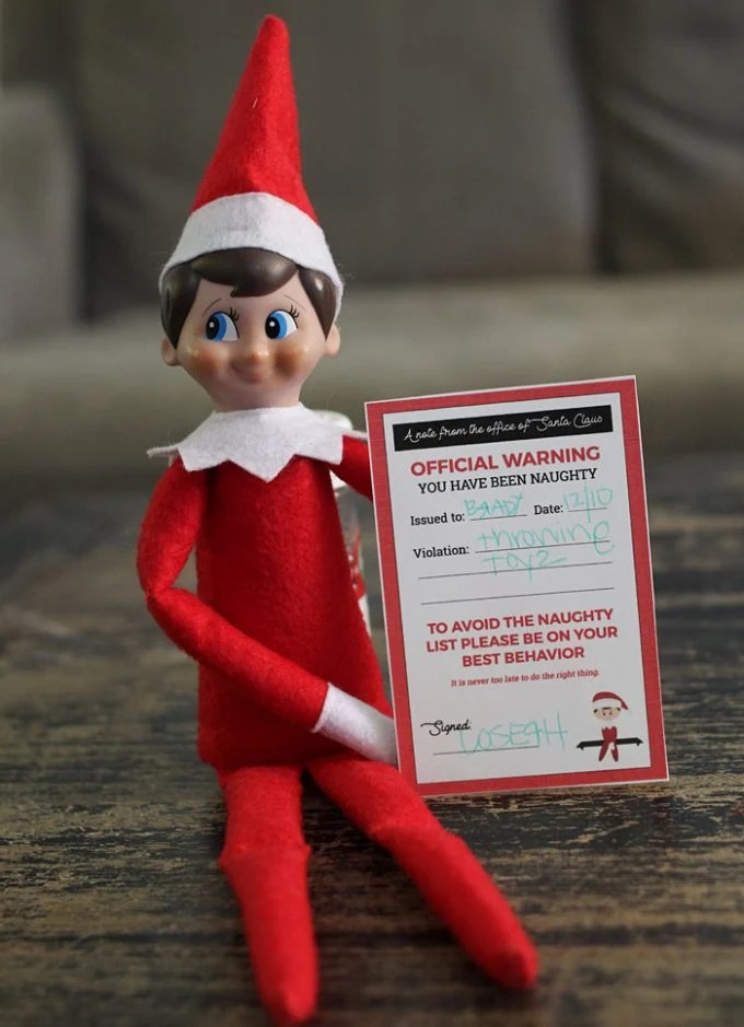 Printable Elf On The Shelf - Naughty Notice