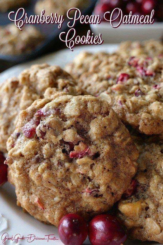 Cranberry Pecan Oatmeal Cookies - Over 50 of the BEST Christmas Cookie Recipes!