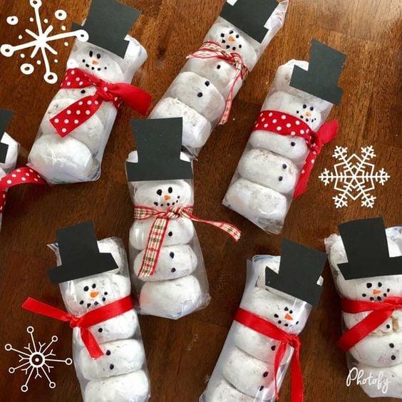 Prepackaged Snowman Donuts