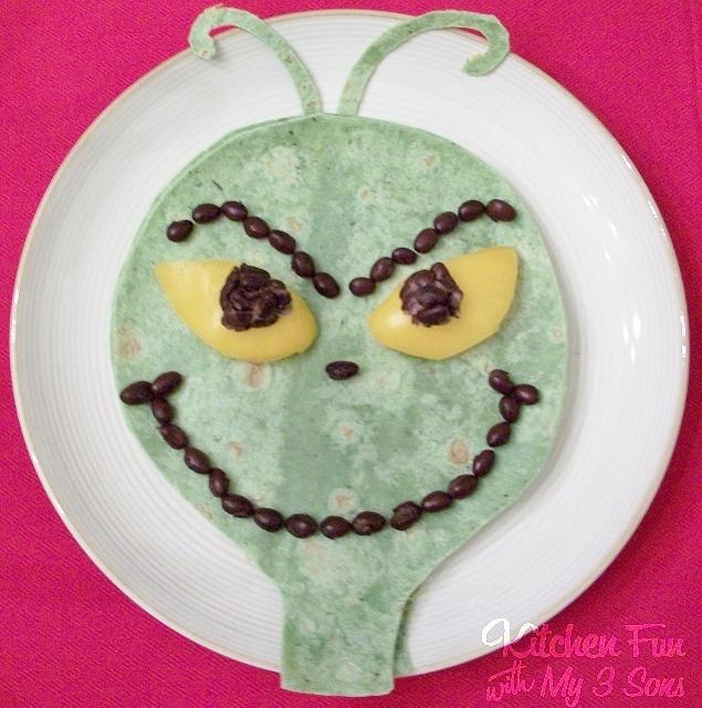 Grinch Quesadilla - Kids Christmas dinner