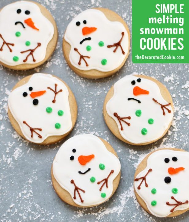 Simple Melted Snowman Cookies..these are the BEST Christmas Cookie Recipes!