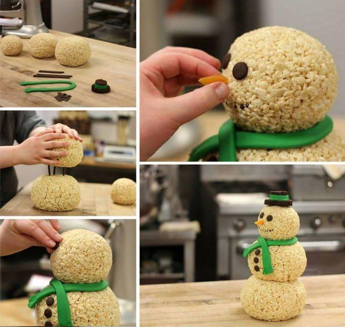 Giant Snowman Rice Krispie Treat