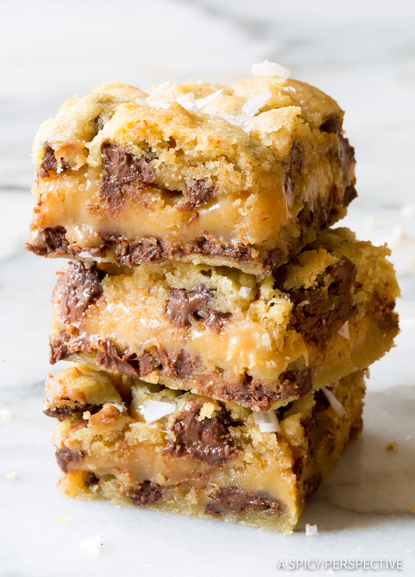 Salted Caramel Chocolate Chip Cookie Bars...these are the BEST Christmas Treats!