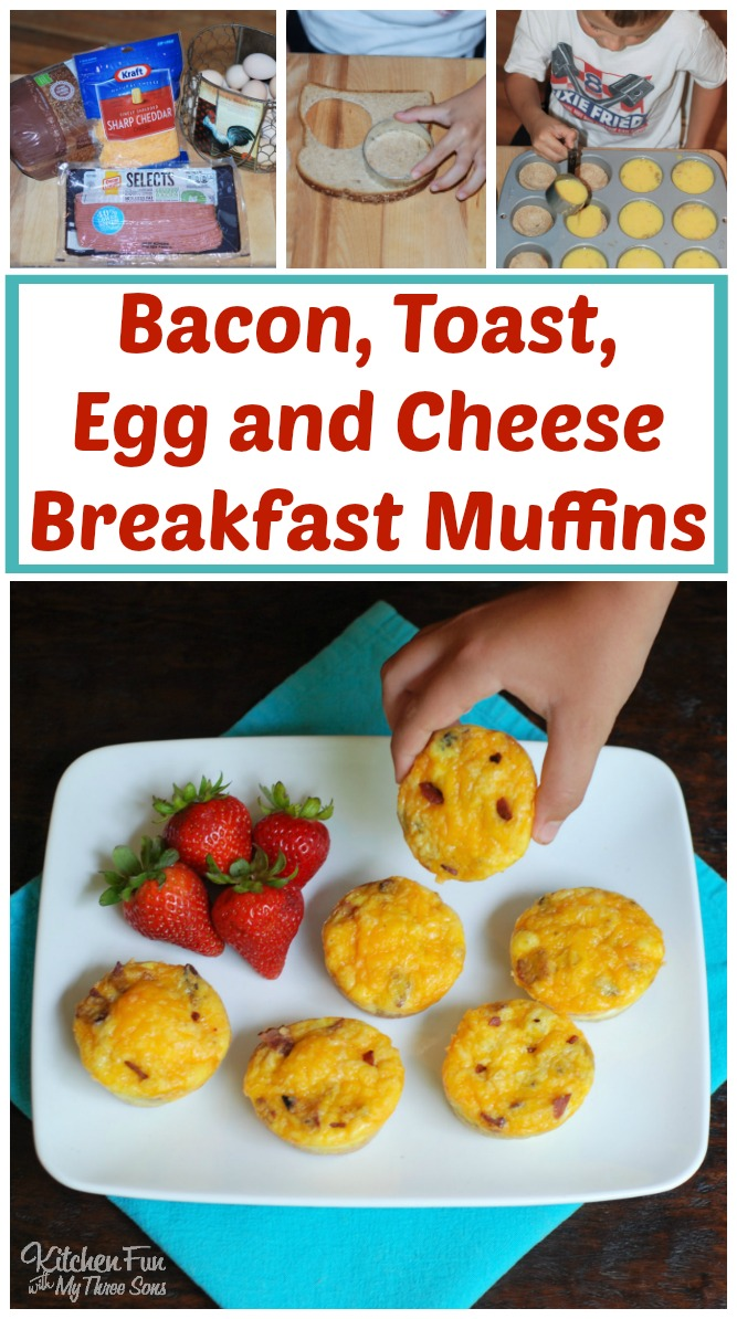 Bacon, Toast, Egg, and Cheese Breakfast Muffins - these are the BEST Muffin Tin Recipes for Kids!