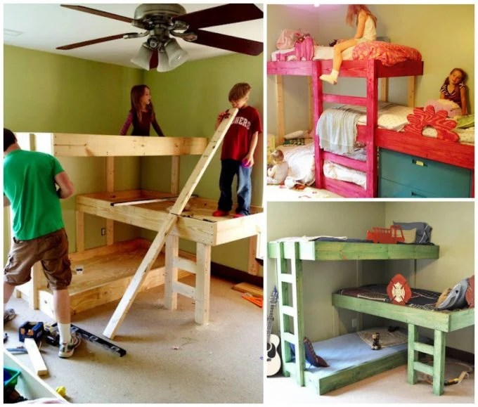 DIY Triple Bunk Beds...these are the BEST Bunk Bed Ideas!