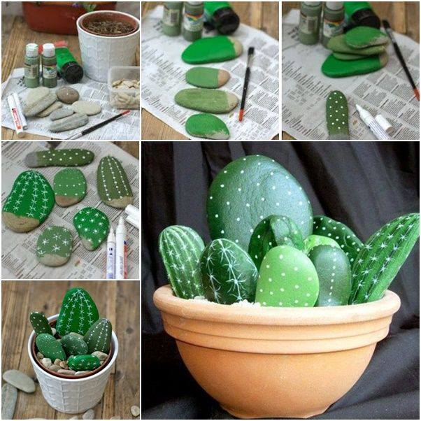 DIY Cactus Pot...these are the BEST Rock Painting Ideas!