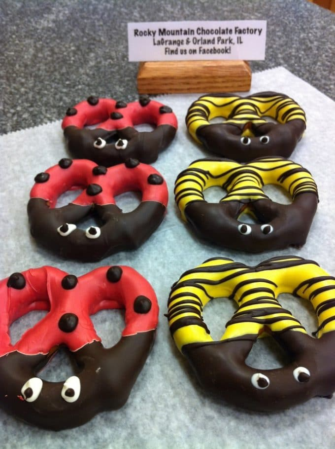 Spring Lady Bug and Bee Pretzel Treats