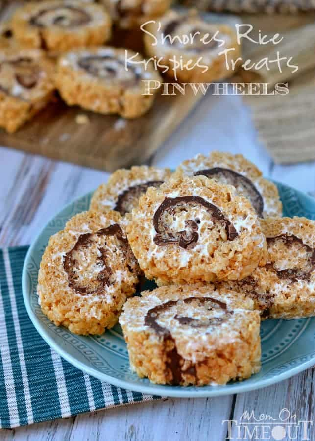 S'MORES RICE KRISPIES TREATS PINWHEELS - best s'mores recipes