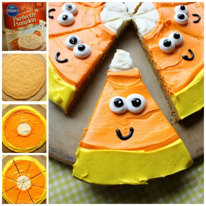 Candy Corn Cookie Pizza - BEST Halloween Treat ideas!