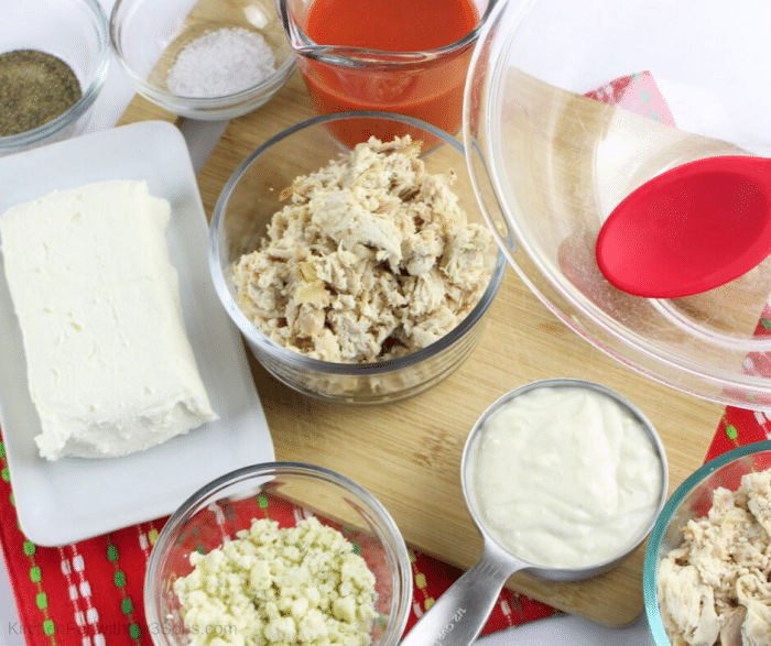 Ingredients for easy buffalo chicken dip