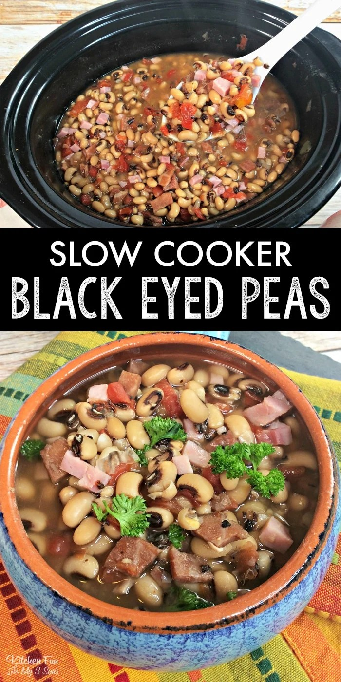 Slow Cooker Black Eyed Peas on New Yeas Day are a family tradition we've been following for as long as I remember. It's full of flavor with onion, garlic and ham.