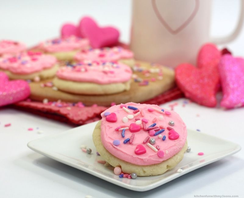 Valentines Day Lofthouse Cookies on a plate