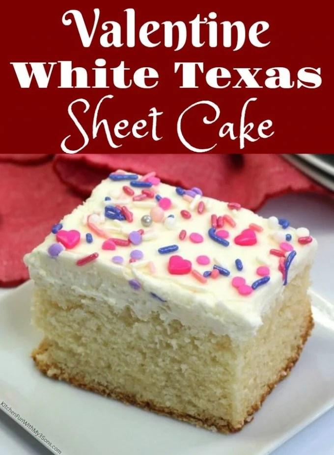 Valentine White Texas Sheet Cake