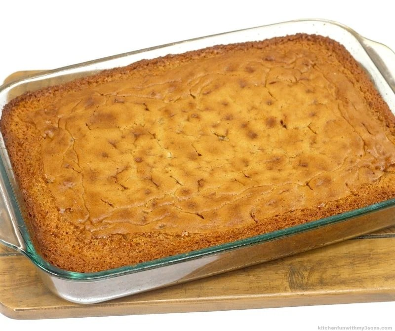 pecan cake out of the oven