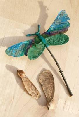 Dragon Flies made from Maple Leaves