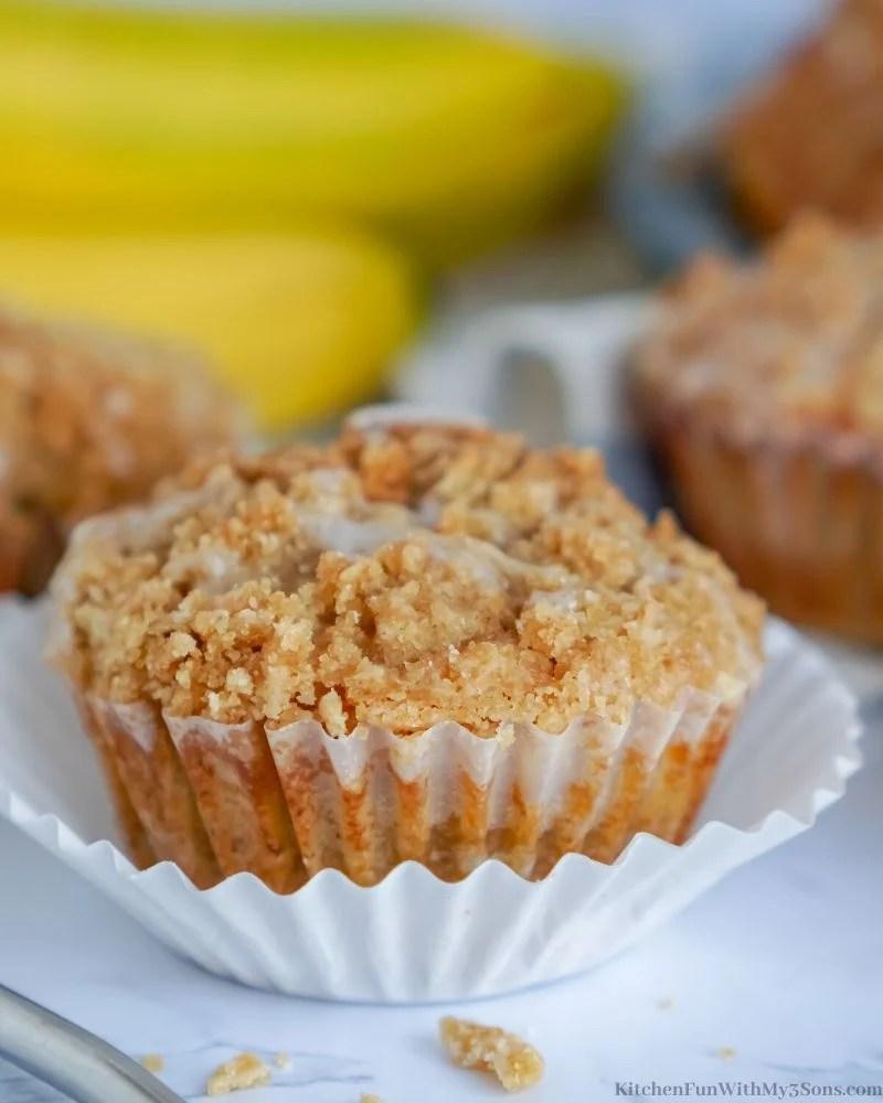 Banana Crumb Muffins in a cupcake liner