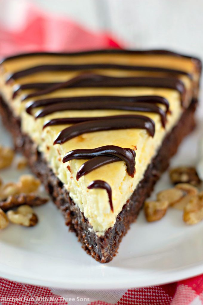 close up image of Brownie Bottom Cheesecake
