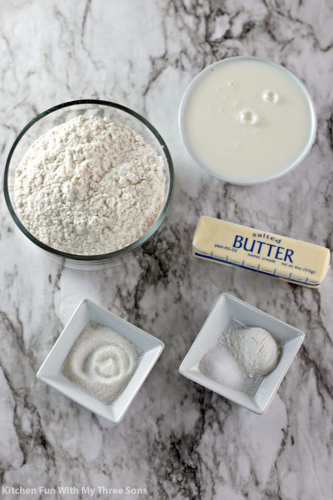 ingredients to make Butter Dip Buttermilk Biscuits