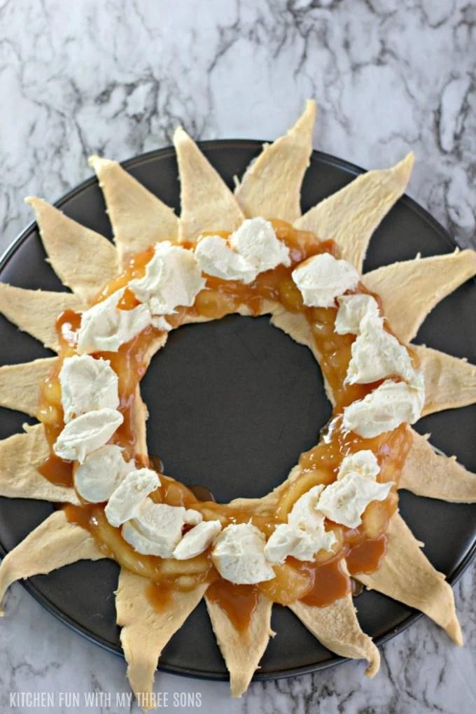 prepared apple crescent ring before baking