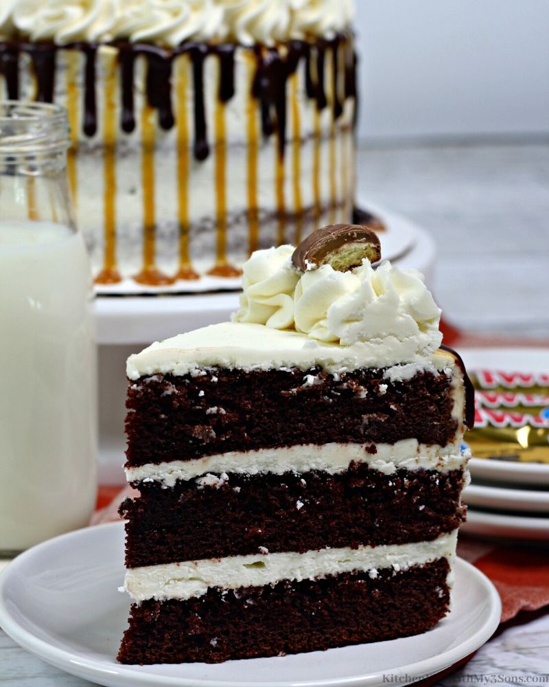 chocolate layer cake on a white plate