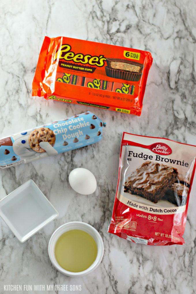 ingredients to make Easy Reese's Stuffed Brookie Cups