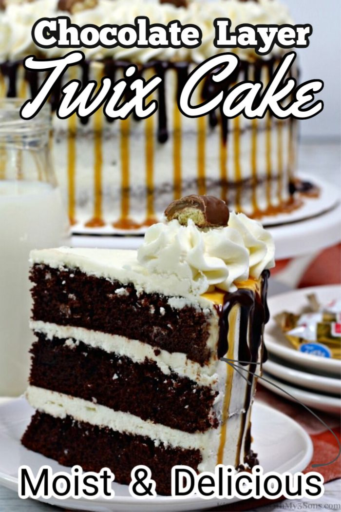 twix cake on a white plate for pinterest