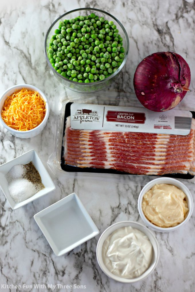 ingredients to make Bacon Pea Salad Recipe