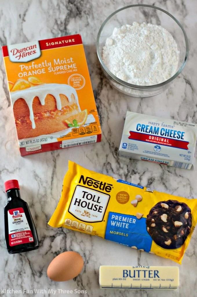 ingredients to make Orange Creamsicle Cake Mix Cookies