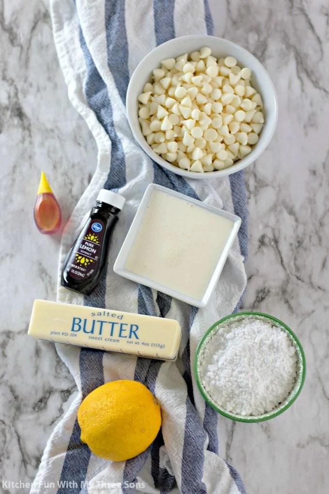 ingredients to make White Chocolate Lemon Truffles