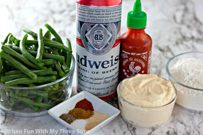 ingredients to make Beer Battered Fried Green Beans
