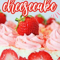 Strawberry Shortcake Cheesecake is a scrumptious no-bake dessert with layers of cheesecake and fresh strawberries on a graham cracker crust.