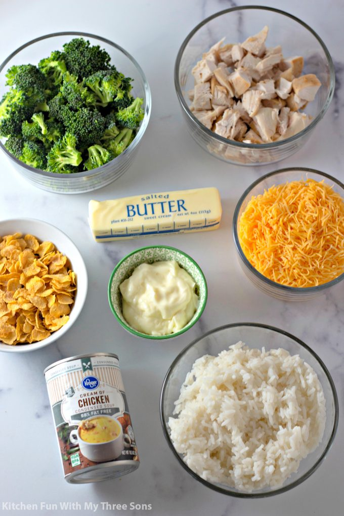 ingredients to make Cheesy Chicken and Rice Casserole