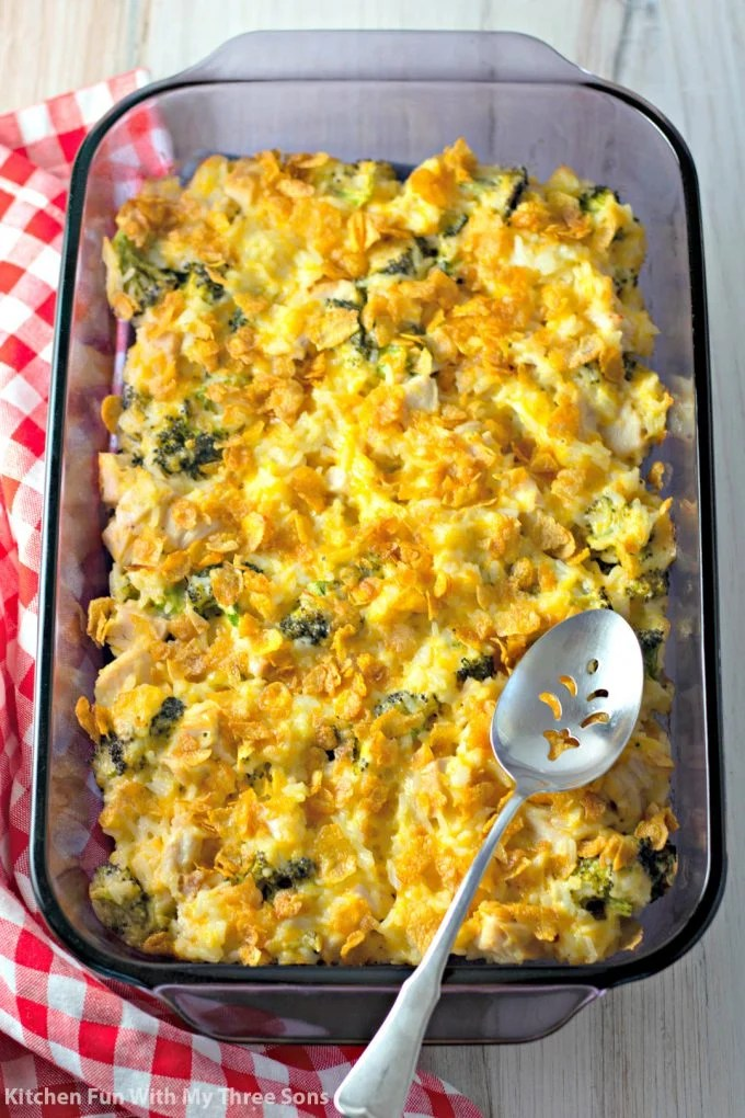 freshly baked Cheesy Chicken and Rice Casserole