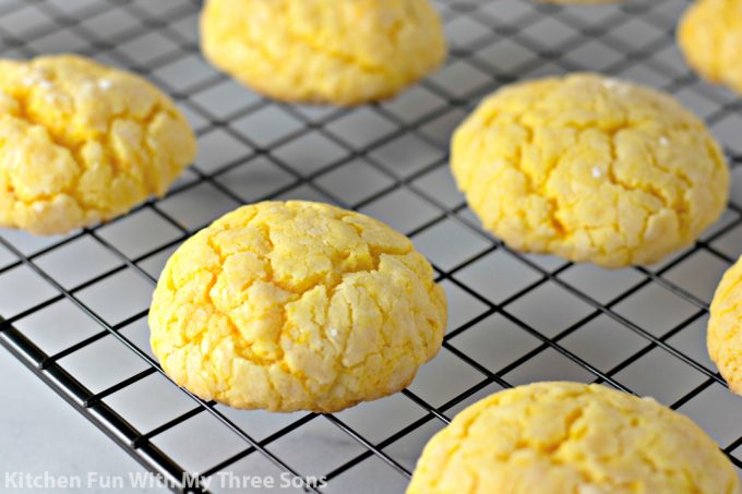 lemon cookies cooling on a wire rack
