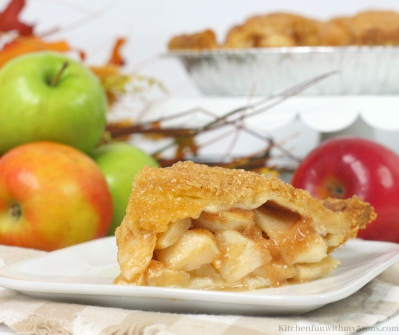 A close up of the Bourbon Apple Pie on a patterned cloth.