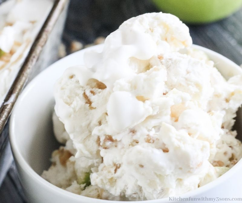 Caramel Apple No Churn Ice Cream in a bowl