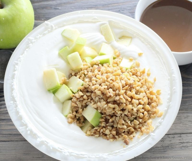 ice cream mixture with apples and nuts