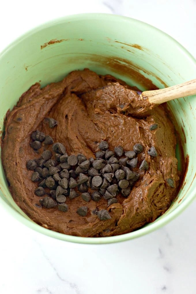 bread batter in a mint green bowl with chocolate chips on top
