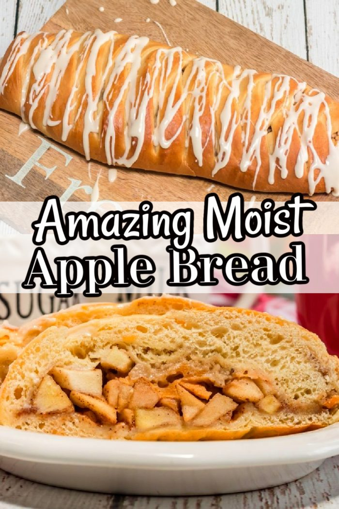 Amazing Moist Apple Bread Recipe with the title in black and white lettering.
