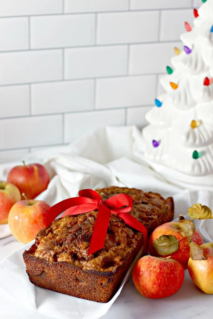 Amish Apple Fritter Bread in front of a Christmas tree