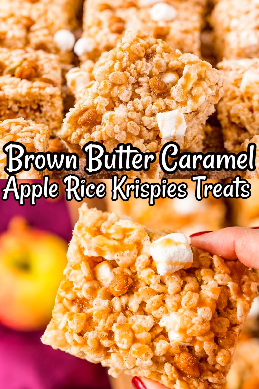 The title Brown Butter Caramel Apple Rice Krispies Treats in black and white lettering.
