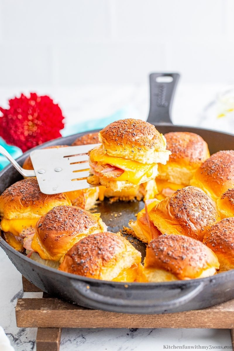 Easy Ham Sliders Appetizer Recipe in an iron skillet.